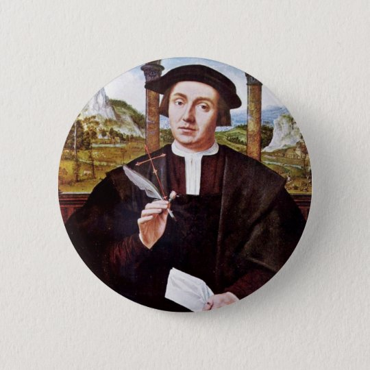 Portrait Of A Notary By Quentin Massys 6 Cm Round Badge