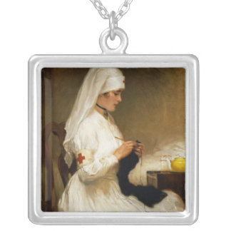Portrait of a Nurse from the Red Cross Silver Plated Necklace