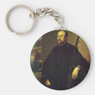 Portrait Of A Painter With A Palm Tree By Tizian Key Chain