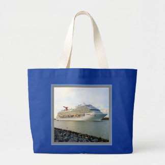 Portrait of a Passing Cruise Ship Large Tote Bag