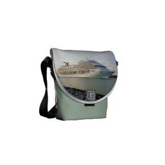 Portrait of a Passing Cruise Ship Messenger Bag