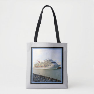 Portrait of a Passing Cruise Ship Tote Bag