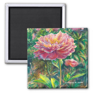 """Portrait of a Peony"" Square Magnet"