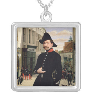 Portrait of a Police Officer in Douai in 1848 Silver Plated Necklace