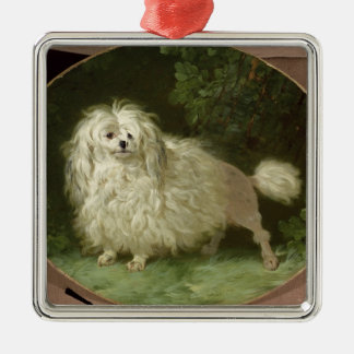 Portrait of a Poodle Silver-Colored Square Decoration