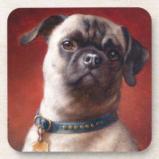 Portrait of a Pug by Carl Reichert Beverage Coasters
