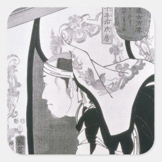 Portrait of a Ronin, from 'Seichin Gushi Shozo' Square Sticker