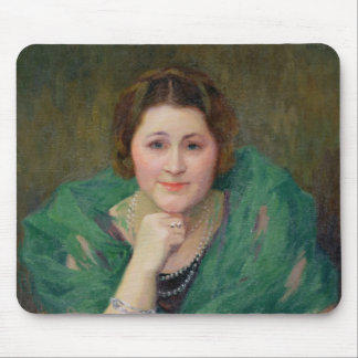 Portrait of a Russian Woman with a Green Scarf Mouse Mat