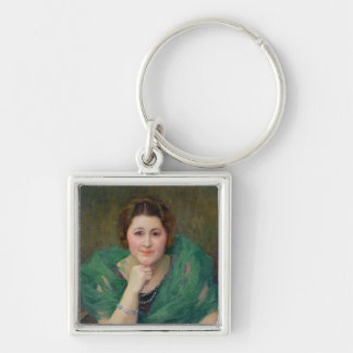 Portrait of a Russian Woman with a Green Scarf Silver-Colored Square Key Ring