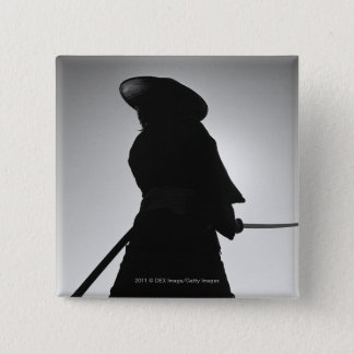 Portrait of a Samurai warrior holding a sword 15 Cm Square Badge