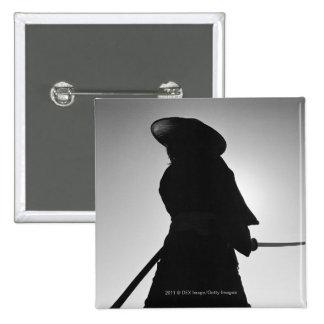 Portrait of a Samurai warrior holding a sword 15 Cm Square Badge