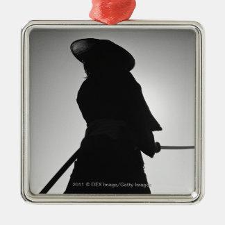 Portrait of a Samurai warrior holding a sword Silver-Colored Square Decoration