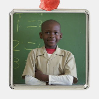 Portrait of a schoolboy at the classroom christmas ornament