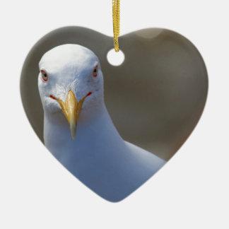 portrait of a seagull ceramic heart decoration
