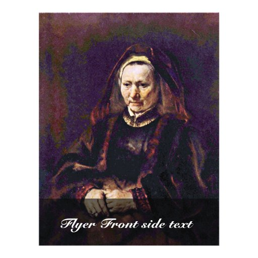 Portrait Of A Seated Old Woman By Rembrandt Flyer