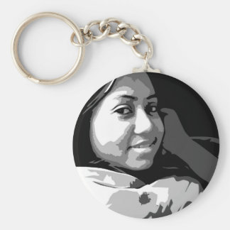 Portrait of a Smiling Asian girl Basic Round Button Key Ring
