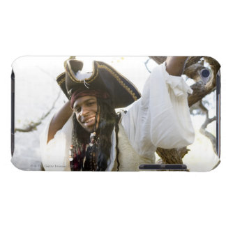 Portrait of a smiling pirate standing by a tree iPod Case-Mate case