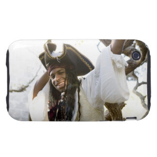 Portrait of a smiling pirate standing by a tree tough iPhone 3 cases