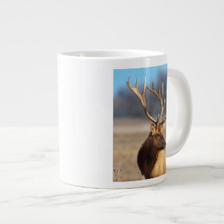 Portrait of a stunning bull elk large coffee mug