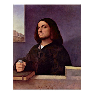 Portrait of a Venetian nobleman by Tiziano Vecelli Poster