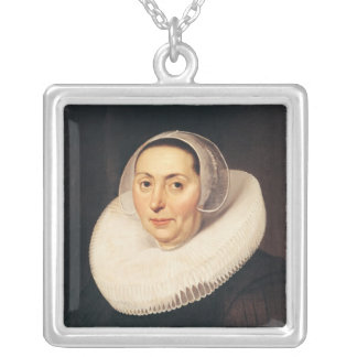 Portrait of a Woman, 1665 Silver Plated Necklace