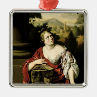 Portrait of a Woman, 1687 Silver-Colored Square Decoration