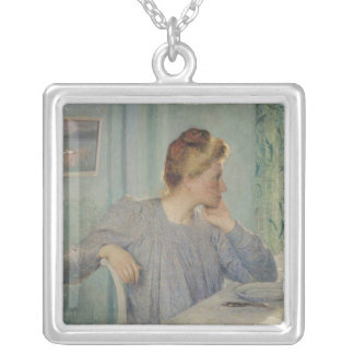 Portrait of a Woman, 1900 Silver Plated Necklace