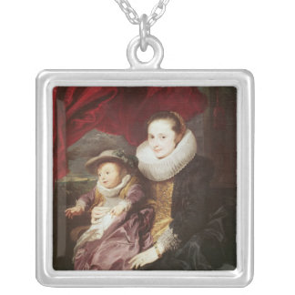 Portrait of a Woman and Child Silver Plated Necklace