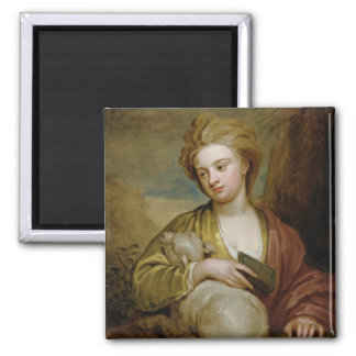 Portrait of a Woman as St. Agnes, traditionally id Square Magnet