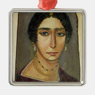 Portrait of a woman, from Fayum, 1st-4th century Silver-Colored Square Decoration