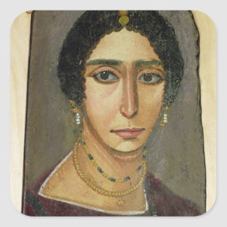 Portrait of a woman, from Fayum, 1st-4th century Square Sticker