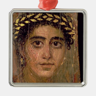 Portrait of a Woman, from Fayum, Romano-Egyptian, Silver-Colored Square Decoration