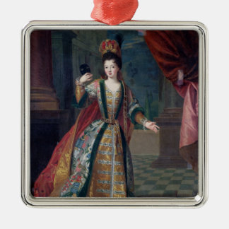 Portrait of a Woman in a Ball Gown Silver-Colored Square Decoration