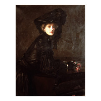 Portrait of a Woman in Black by Sir John Lavery Postcard