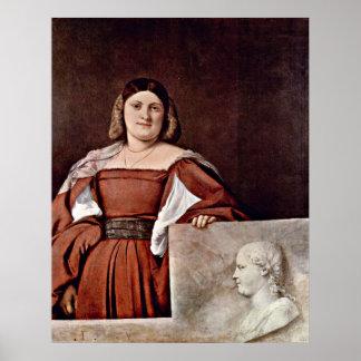 Portrait of a woman (La Schiavona)by Tiziano Vecel Poster