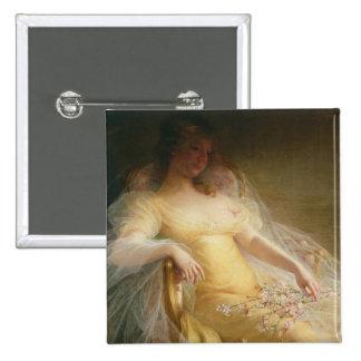 Portrait of a Woman (oil on canvas) 15 Cm Square Badge