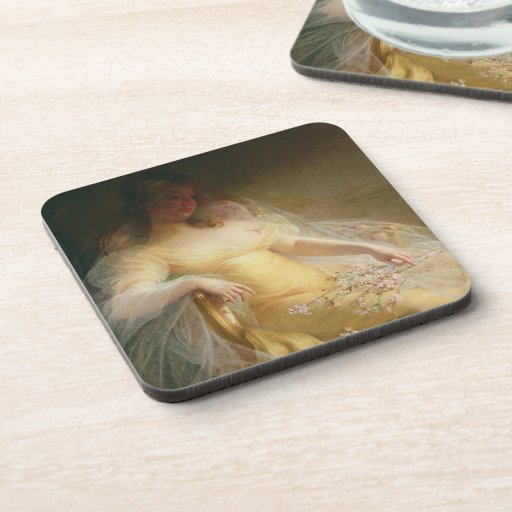 Portrait of a Woman (oil on canvas) Drink Coasters