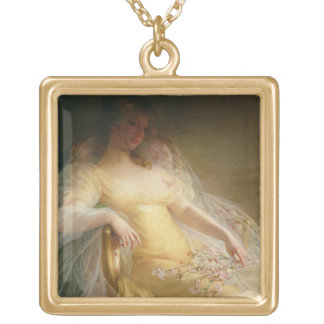 Portrait of a Woman (oil on canvas) Personalized Necklace