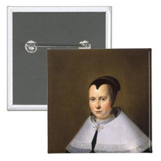 Portrait of a Woman (oil on panel 15 Cm Square Badge