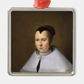 Portrait of a Woman (oil on panel Silver-Colored Square Decoration