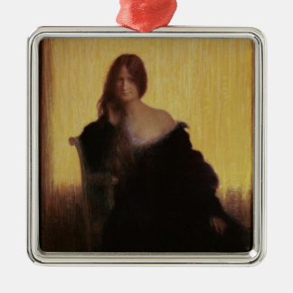 Portrait of a Woman (pastel on paper) Silver-Colored Square Decoration