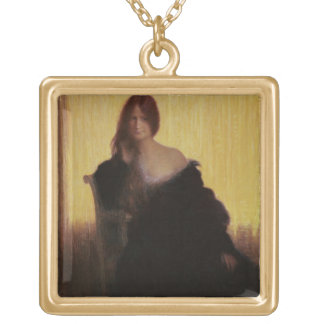 Portrait of a Woman (pastel on paper) Square Pendant Necklace