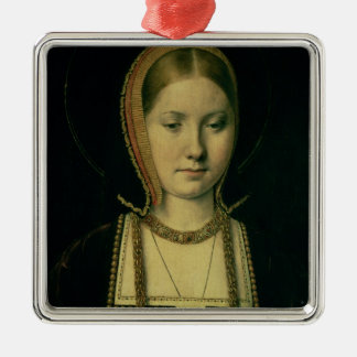 Portrait of a woman, possibly Catherine of Aragon Silver-Colored Square Decoration