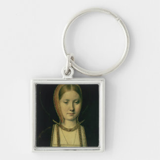 Portrait of a woman, possibly Catherine of Aragon Silver-Colored Square Key Ring