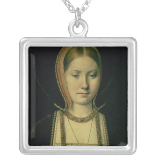 Portrait of a woman, possibly Catherine of Aragon Silver Plated Necklace