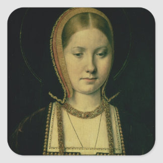 Portrait of a woman, possibly Catherine of Aragon Square Sticker
