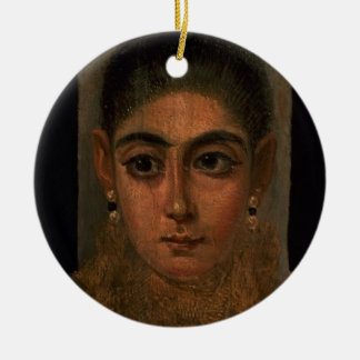 Portrait of a woman wearing a gold pectoral, tomb round ceramic decoration