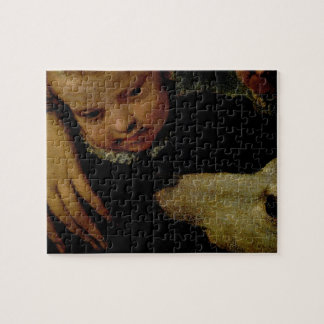 Portrait of a Woman with a Child and a Dog, detail Jigsaw Puzzle
