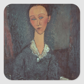 Portrait of a Woman with a White Collar (oil on ca Square Sticker