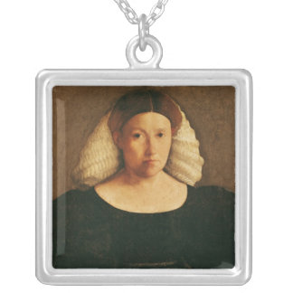 Portrait of a Woman with a White Hairnet Silver Plated Necklace